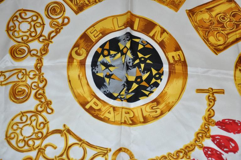 Celine Signature Multi-Color Silk Scarf In Good Condition For Sale In New York, NY