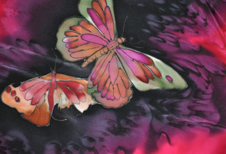 "Multi-Color Hand-Dyed ""Butterflies"" Silk Scarf 4"