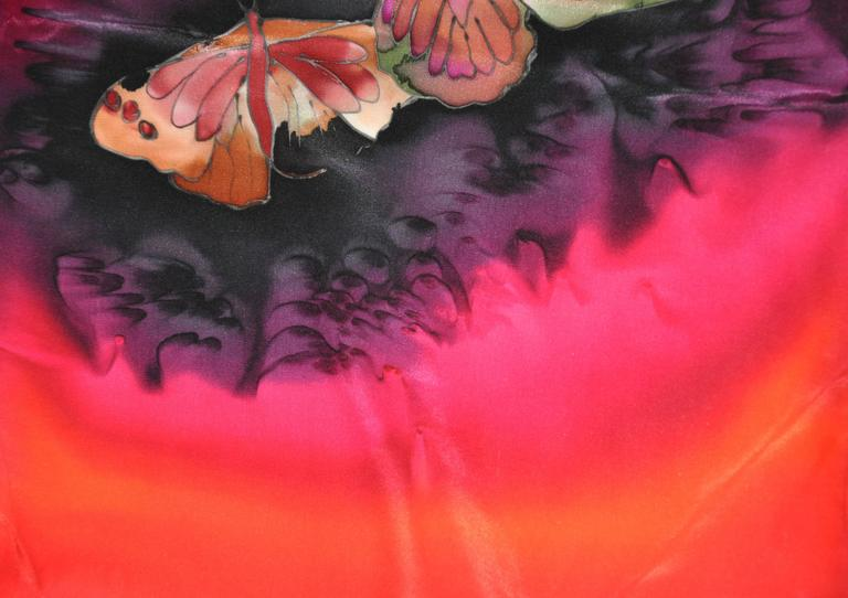 "Multi-Color Hand-Dyed ""Butterflies"" Silk Scarf 5"