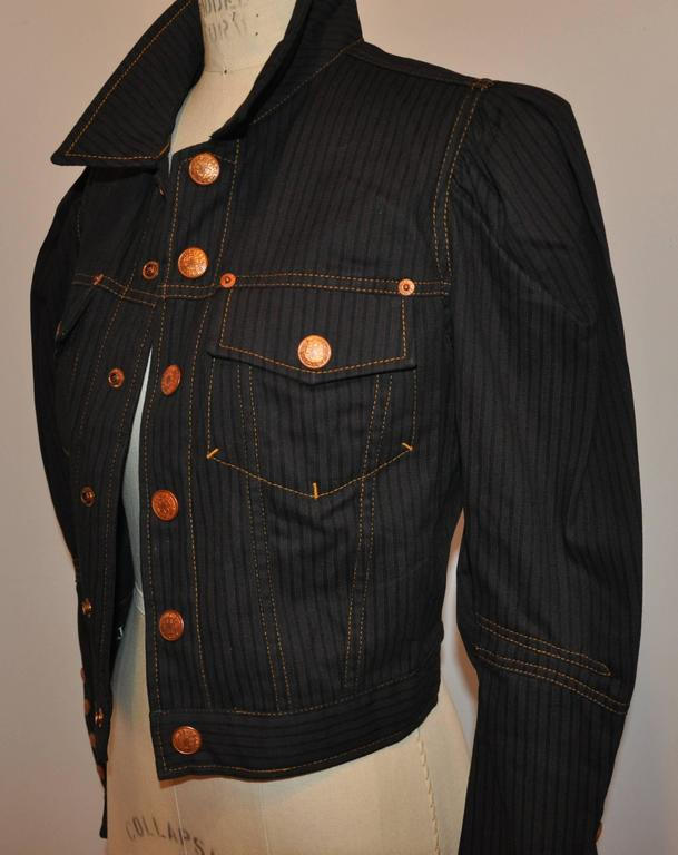 Black Jean Paul Gaultier Dark Denim Cropped Jacket With Detailed Sleeves For Sale