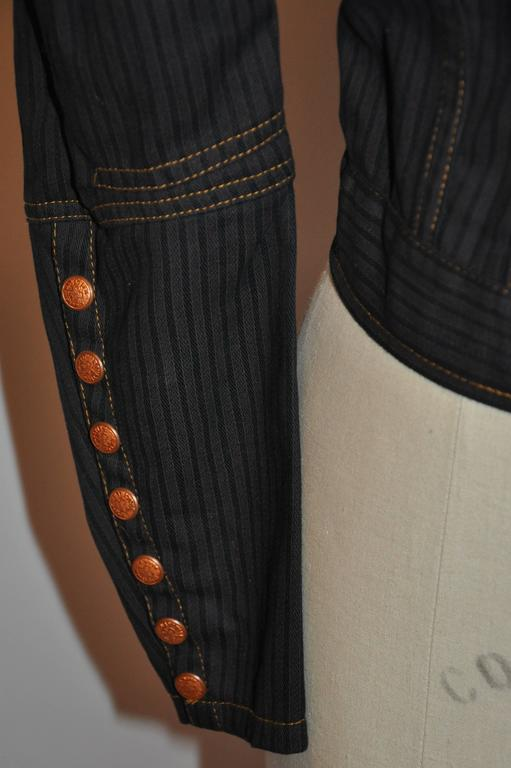 Jean Paul Gaultier Dark Denim Cropped Jacket With Detailed Sleeves In Good Condition For Sale In New York, NY