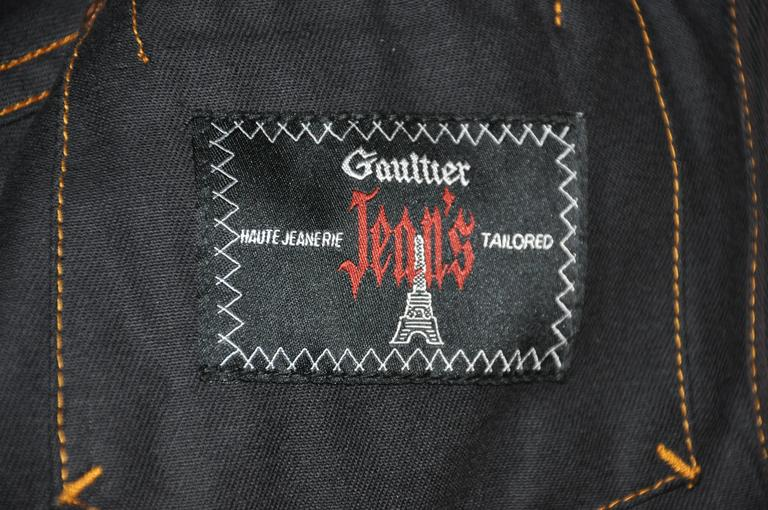 Jean Paul Gaultier Dark Denim Cropped Jacket With Detailed Sleeves For Sale 2