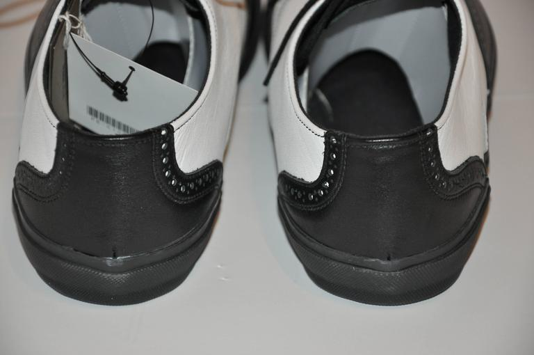 "Comme des Garcons Men's Black & White ""Specs"" Rubber-Sole Shoes 5"