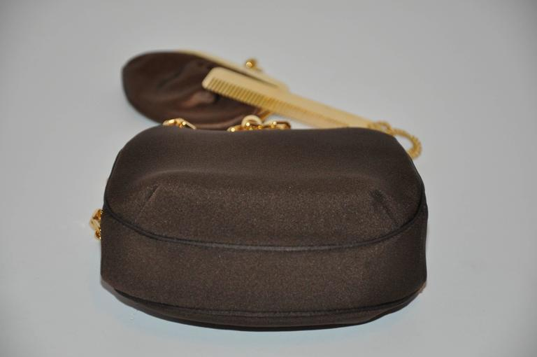 Black Judith Leiber Textured Coco-Brown Silk Evening Bag with Gold hradware For Sale