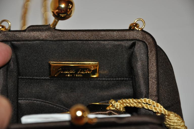 Judith Leiber Textured Coco-Brown Silk Evening Bag with Gold hradware In Excellent Condition For Sale In New York, NY