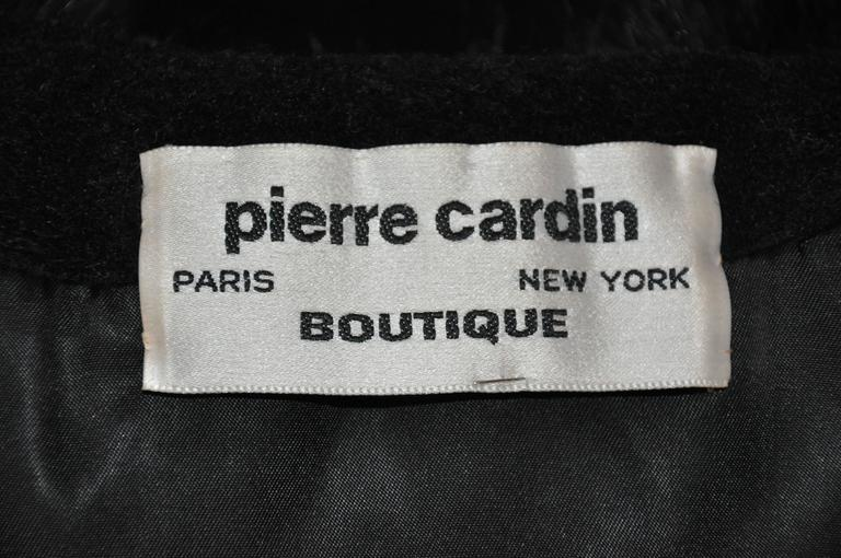 "Pierre Cardin ""Boutique"" Black Wool Accented with Fox Collar Evening Jacket In Good Condition For Sale In New York, NY"