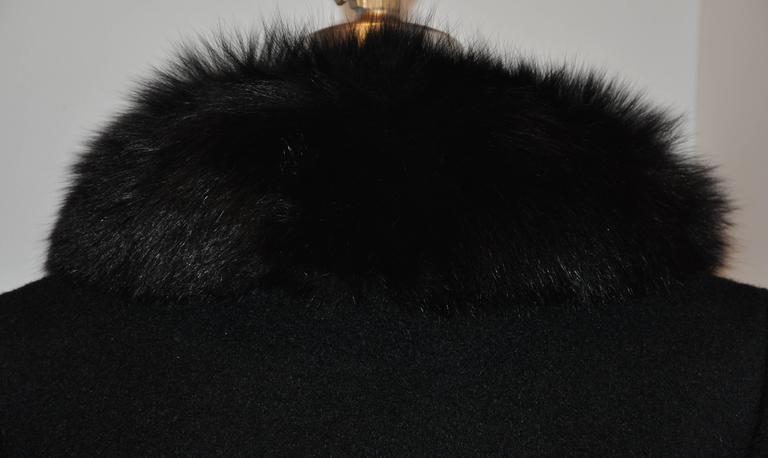 "Pierre Cardin ""Boutique"" Black Wool Accented with Fox Collar Evening Jacket For Sale 2"