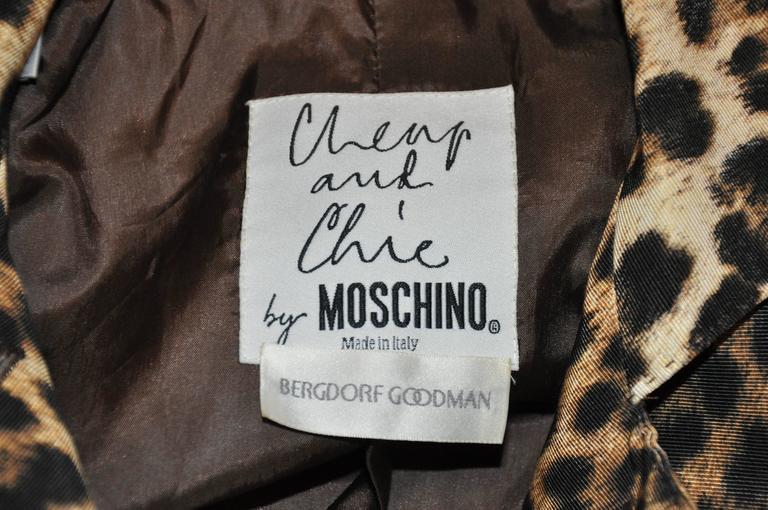 Black Moschino Leopard Print Fully Lined Jacket For Sale