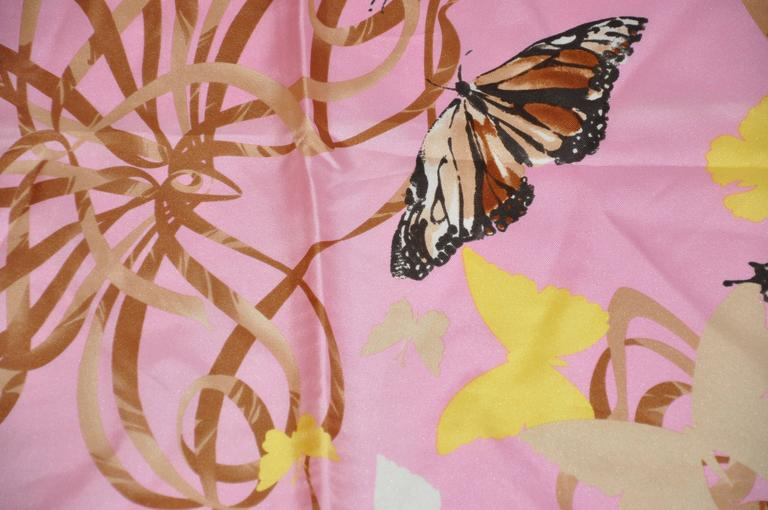 """Valentino wonderfully elegant bold multi-color """"Butterflies"""" silk scarf measures 34"""" x 34"""" and finished with hand-rolled edges. This wonderful scarf is made in Italy."""