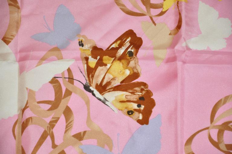 """Pink Valentino Bold Multi-Color """"Butterflies"""" Silk Scarf For Sale"""