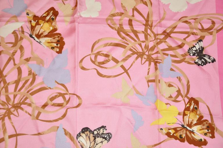 """Valentino Bold Multi-Color """"Butterflies"""" Silk Scarf In Good Condition For Sale In New York, NY"""