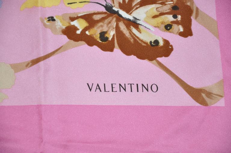"Valentino Bold Multi-Color ""Butterflies"" Silk Scarf 5"