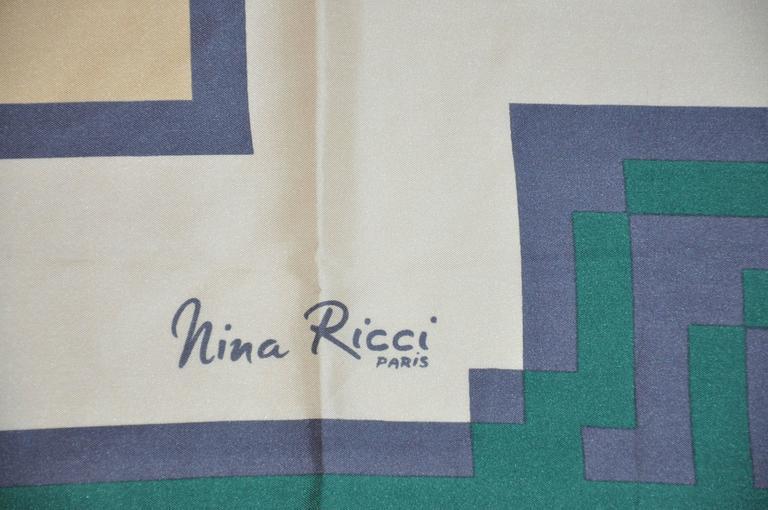 Nina Ricci Bold Abstract Silk Scarf For Sale at 1stdibs