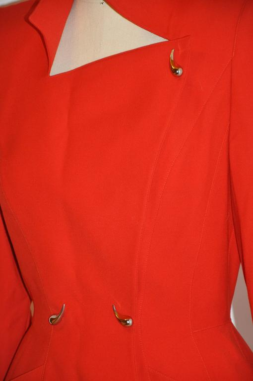 Thierry Mugler Signature Red Body Forming Two Piece Skirt Ensemble For Sale 1
