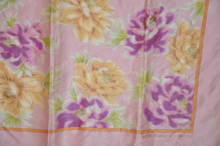 Adrienne Vittadini wonderfully elegant multi-color floral silk scarf measures 34