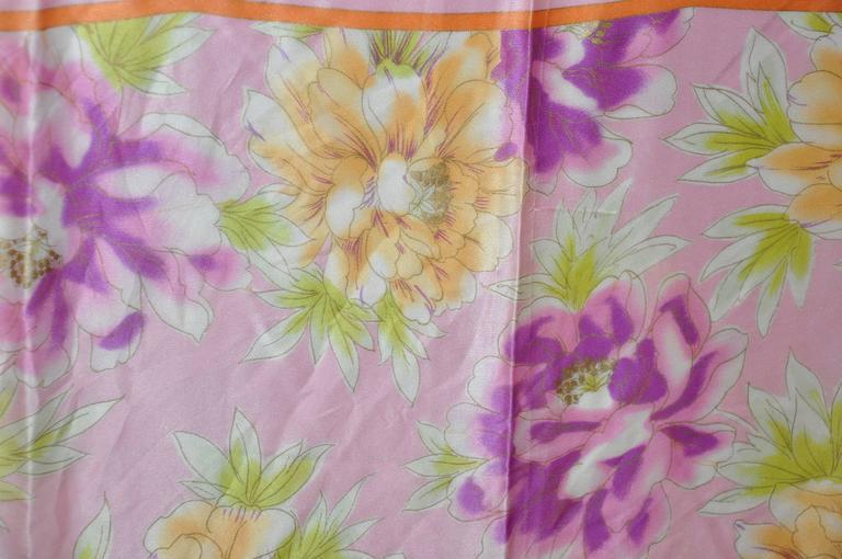 Beige Adrienne Vittadini Multi Color Floral Silk Scarf For Sale