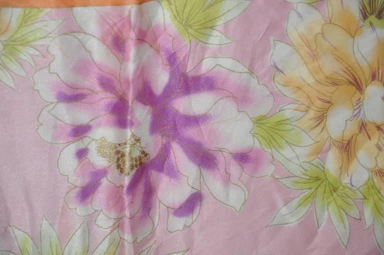 Adrienne Vittadini Multi Color Floral Silk Scarf In Good Condition For Sale In New York, NY