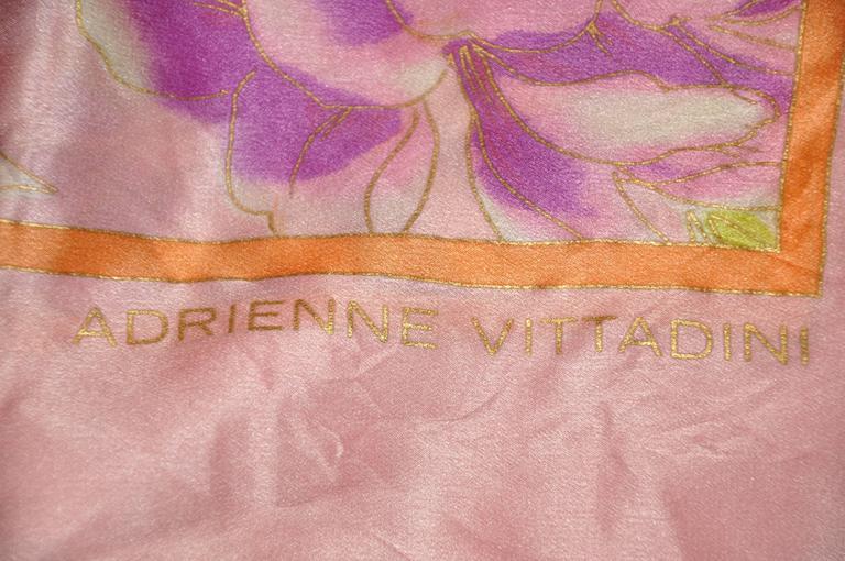Women's or Men's Adrienne Vittadini Multi Color Floral Silk Scarf For Sale