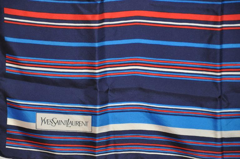 f704ce9996 Yves Saint Laurent Red White and Blue Signature Silk Scarf