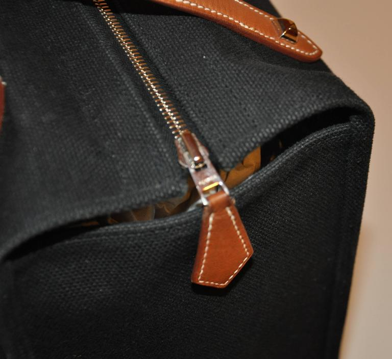 Hermes Black Canvas Travel Tote  In Good Condition For Sale In New York, NY