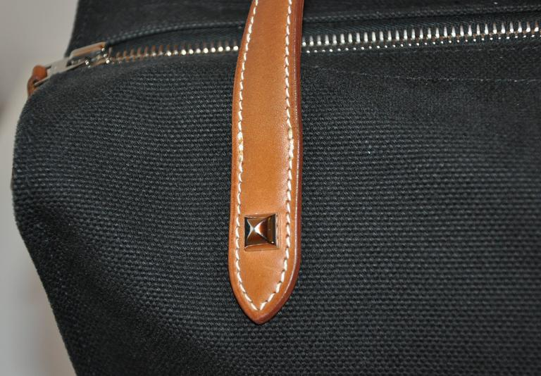 Hermes Black Canvas Travel Tote  For Sale 1