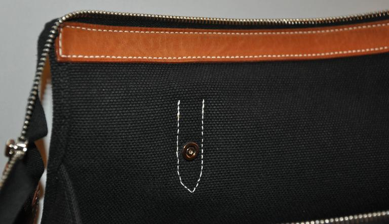 Hermes Black Canvas Travel Tote  For Sale 2