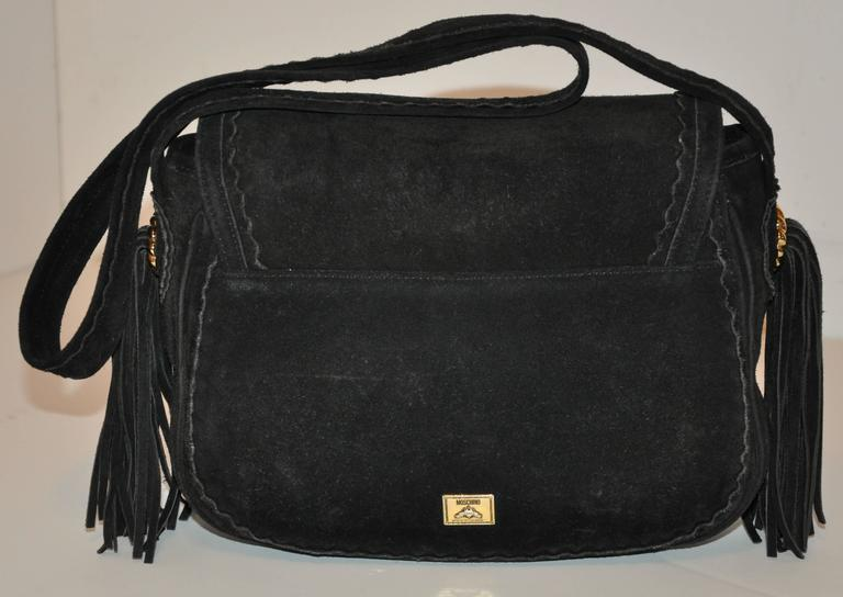 Moschino Midnight Black Lambskin Suede with Tassels Accent Shoulder Bag 2