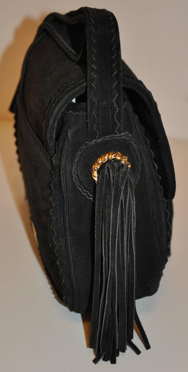 Moschino Midnight Black Lambskin Suede with Tassels Accent Shoulder Bag In Good Condition For Sale In New York, NY