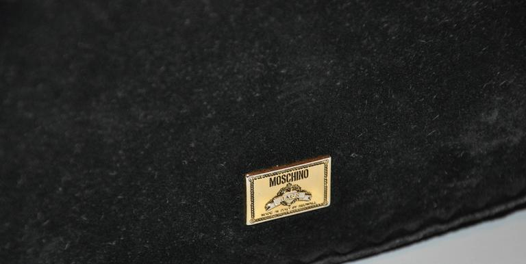Women's or Men's Moschino Midnight Black Lambskin Suede with Tassels Accent Shoulder Bag For Sale