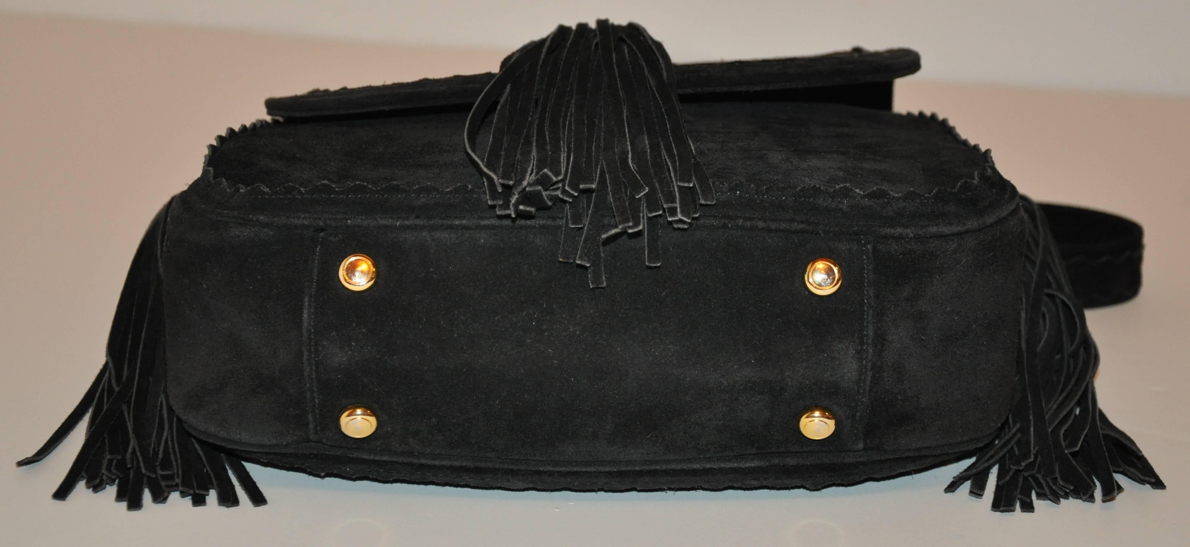 Moschino Midnight Black Lambskin Suede With Tassels Accent Shoulder Bag