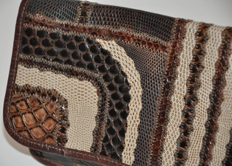 Black Carlos Falchi Multi-Textured Exotic Skins Coco Brown Clutch For Sale