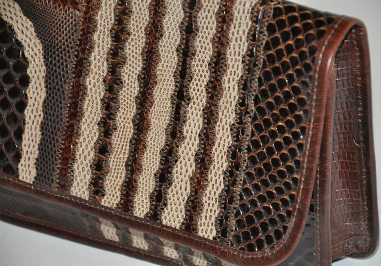 Carlos Falchi Multi-Textured Exotic Skins Coco Brown Clutch In Good Condition For Sale In New York, NY