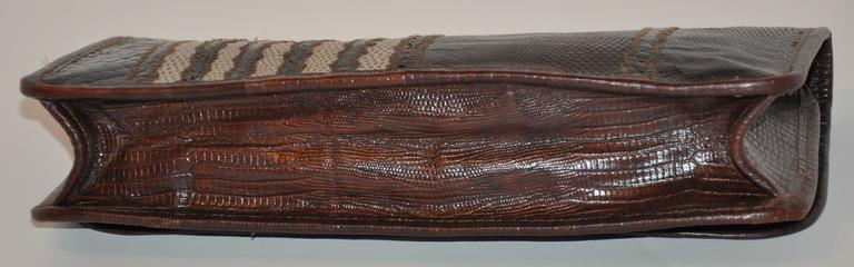 Women's or Men's Carlos Falchi Multi-Textured Exotic Skins Coco Brown Clutch For Sale