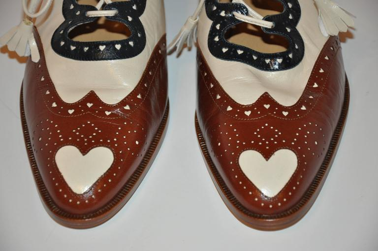 Moschino Navy, Beige and Brown Sling-Back Low Heel Spectator In New Never_worn Condition For Sale In New York, NY