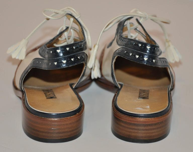 Women's or Men's Moschino Navy, Beige and Brown Sling-Back Low Heel Spectator For Sale
