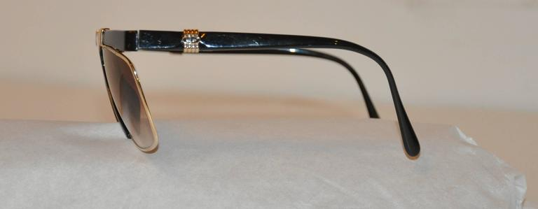 Christian Dior Thick Black Lucite with Etched Gold Hardware Sunglasses In Good Condition For Sale In New York, NY