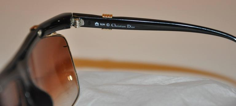 Christian Dior Thick Black Lucite with Etched Gold Hardware Sunglasses For Sale 1