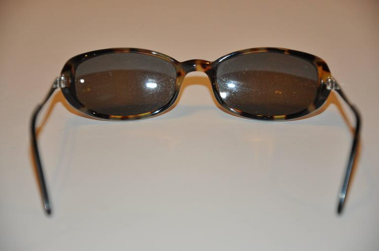 Black Cartier Tortoise Shell Accented with Silver Hardware Sunglasses For Sale