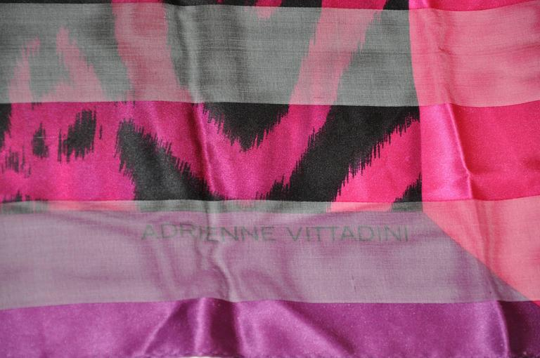 Pink Adrienne Vittadini Multi-Shades of Fuchsia & Black Silk & Chiffon Scarf For Sale