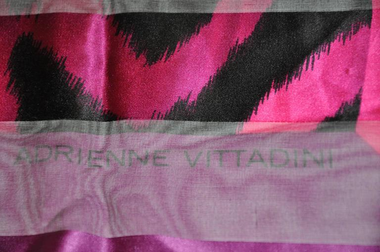 Adrienne Vittadini Multi-Shades of Fuchsia & Black Silk & Chiffon Scarf In Good Condition For Sale In New York, NY