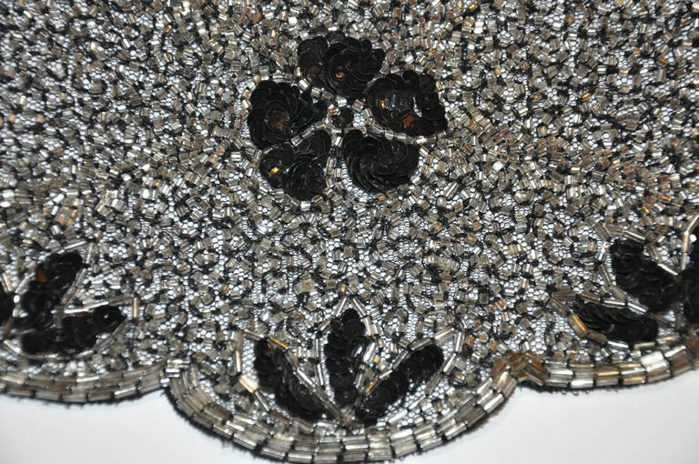 Black Mary McFadden Detailed Hand-Done Bugle Beads with Sequined Silk Collar For Sale