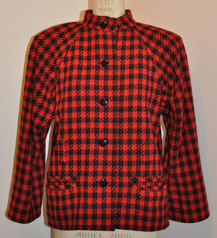 Brown Yves Saint Laurent Black & Red Checkered Jacket For Sale