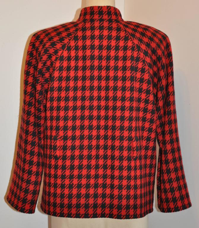 Yves Saint Laurent Black & Red Checkered Jacket In Good Condition For Sale In New York, NY
