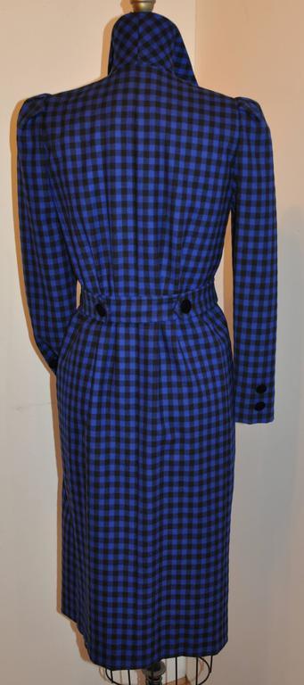 Purple Oscar de la Renta Navy & Black Checkered Double Breasted Dress For Sale