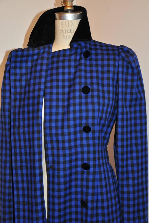 Women's Oscar de la Renta Navy & Black Checkered Double Breasted Dress For Sale