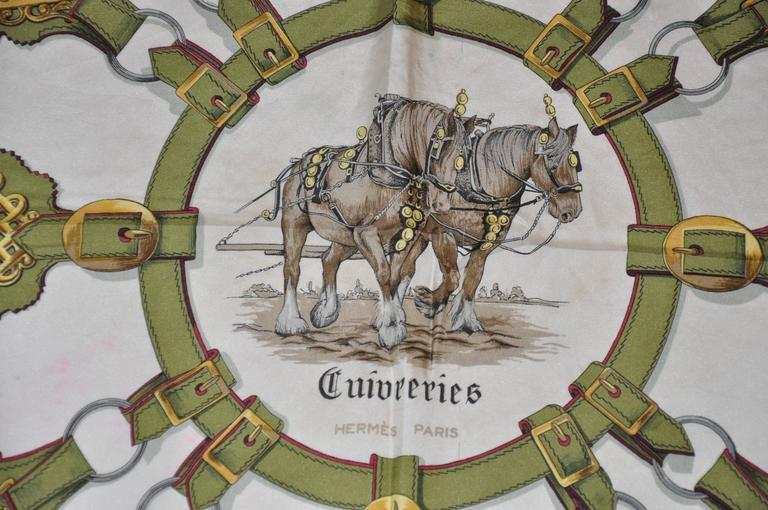 "Hermes ""Guivreries"" Designed by F. de la Perriere Silk Jacquard Scarf 2"