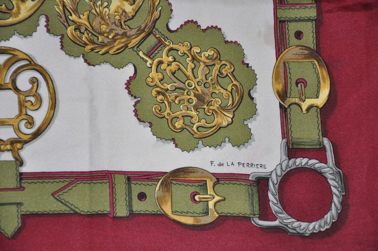 "Hermes ""Guivreries"" Designed by F. de la Perriere Silk Jacquard Scarf 3"