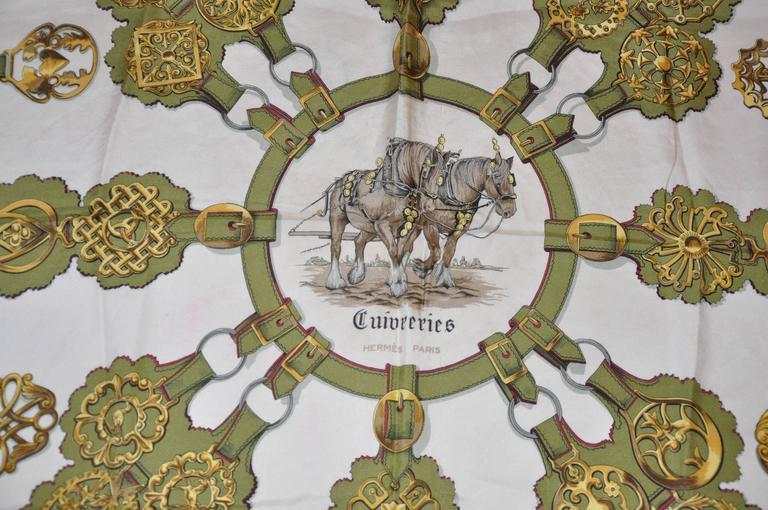"Hermes ""Guivreries"" Designed by F. de la Perriere Silk Jacquard Scarf 5"