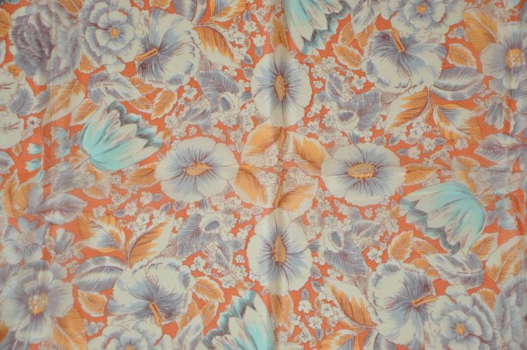 Cacharel Tangerine Floral Scarf In Good Condition For Sale In New York, NY
