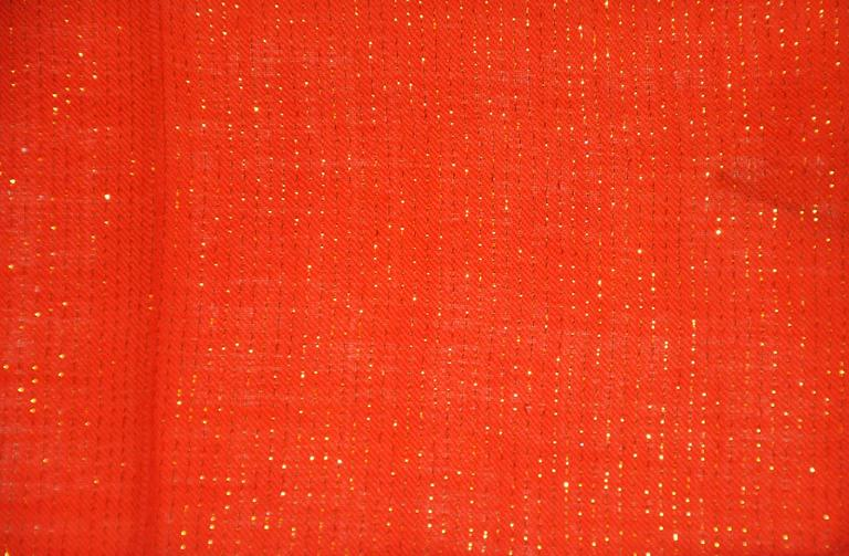 Bold Red Wool Challis Accented with Gold Lame Scarf In Good Condition For Sale In New York, NY